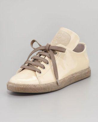 Brunello Cucinelli Patent Leather Lace-Up Sneaker, Butter Brunello Cucinelli