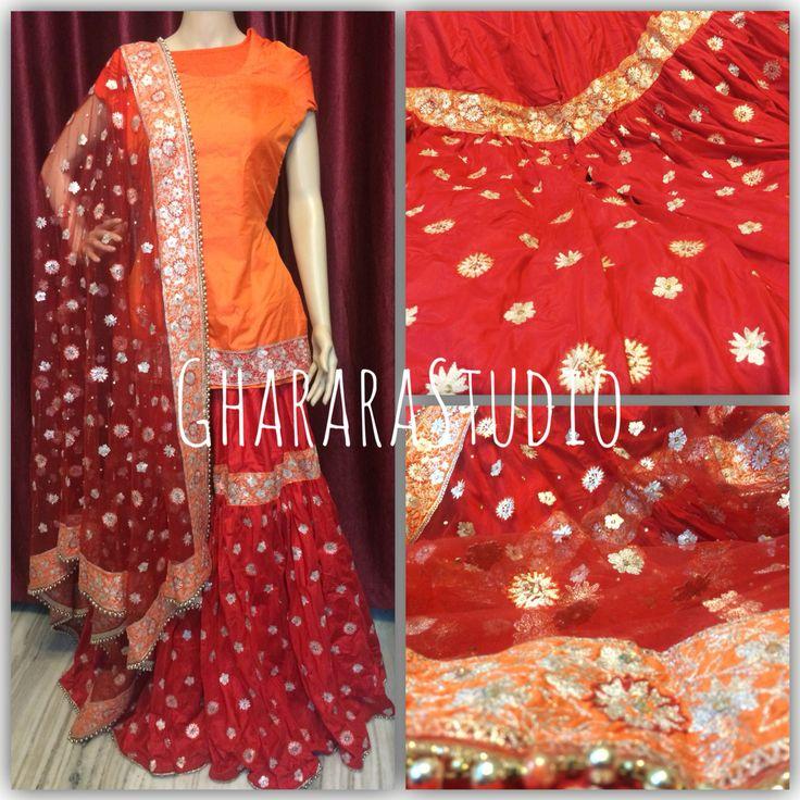 Red & Orange Silk Gharara with handwork embroidery all over Best value for money.  ORDER NOW!!!   #gharara #ghararastudio #ghararastudiobyshazia #ghararaonline #ghararadesigner #stitched #glamour #style #instastyle #fashion #fashionblog #fashionweek #fashionshow #fashiondiaries #fashiondesigner #instafashion #red #orange #handcraft #embroidery #zari #resham #silk #net #allthingsindian #allthingswedding #indianbride #muslimbride #muslimwedding