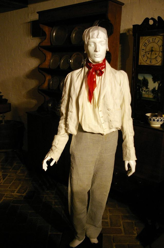 """blue and white checked cotton trousers, white linen """"roundabout"""" jacket, repro """"spotted"""" neckcloth from Burnley & Trowbridge. A less fashionable, rural or artisan/working class look. as shown in DAR Museum exhibit """"An Agreeable Tyrant"""" agreeabletyrant.dar.org"""