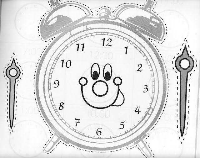 Manualidadesconmishijas. Reloj para aprender las horas. Molde. Template. clock