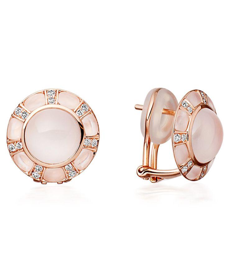 Astley Clarke Rose Gold Moonstone and Diamond Ruthie Stud Earrings