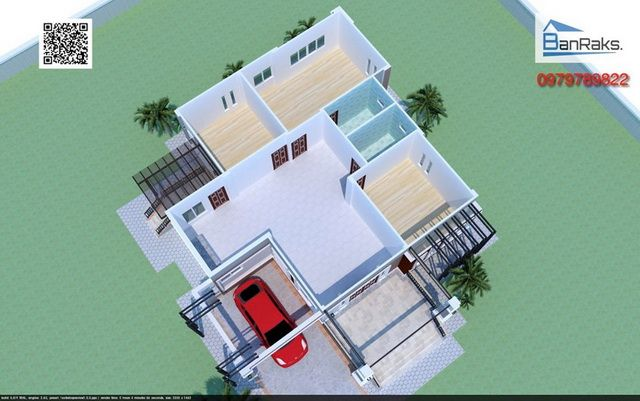 The side area has a garage under the eaves.The back also has a small terrace, the entrance is another point.See the plan. When you open the door, you will find the reception area.Sofa with TVNext to the dining room and open kitchen.Block the area with the shelves as a rough partition.From this hall is connected to other rooms.Every room in the houseLiving is simple and comfortable.