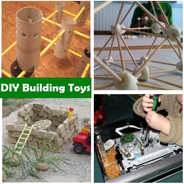 DIY building toys - toilet roll and pencil structures, toothpick and marshmallow structures, sand bricks made in ice-cube trays, and taking apart old electronics that no longer work. Some great ideas! :)