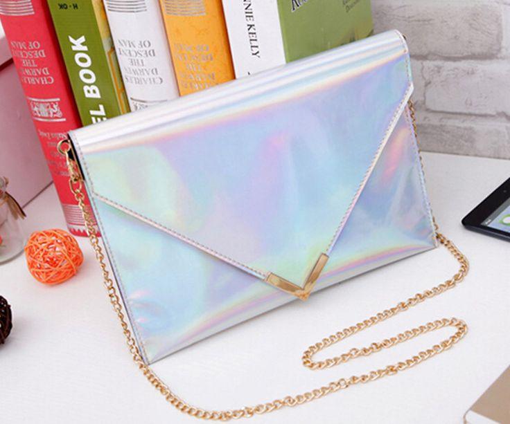 hot!  trending women laser bag metal chains  envelop handbag Silver clutch bag ladies crossbody bag  strap free shipping