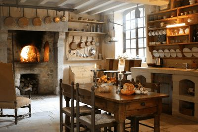 Copper infused kitchen in the South of France. Country French Antiques: February 2009