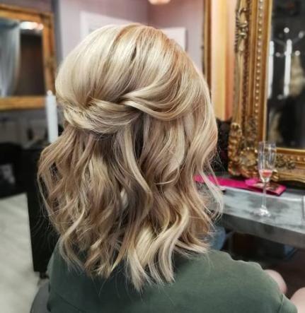 Hair types wavy wedding ceremony half up half down 60+ Concepts
