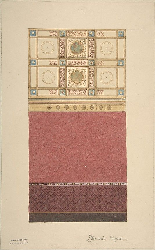 Design for Wall Elevation with Diapered Wainscoting and a Coffered Ceiling John Gregory Crace (British, London 1809–1889 Dulwich)