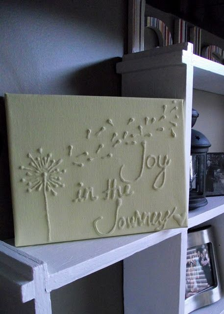 Canvas Wall Art With Glue & Paint #diy #home #decor #crafts