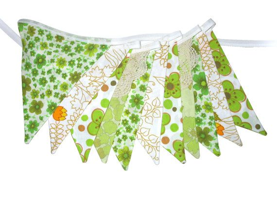 Vintage Bunting - Retro 'Eco  Green and Orange by MerryGoRoundHANDMADE