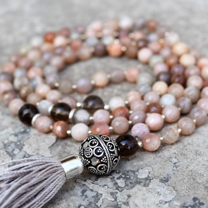 Enlightenment Mala - Peach Moonstone