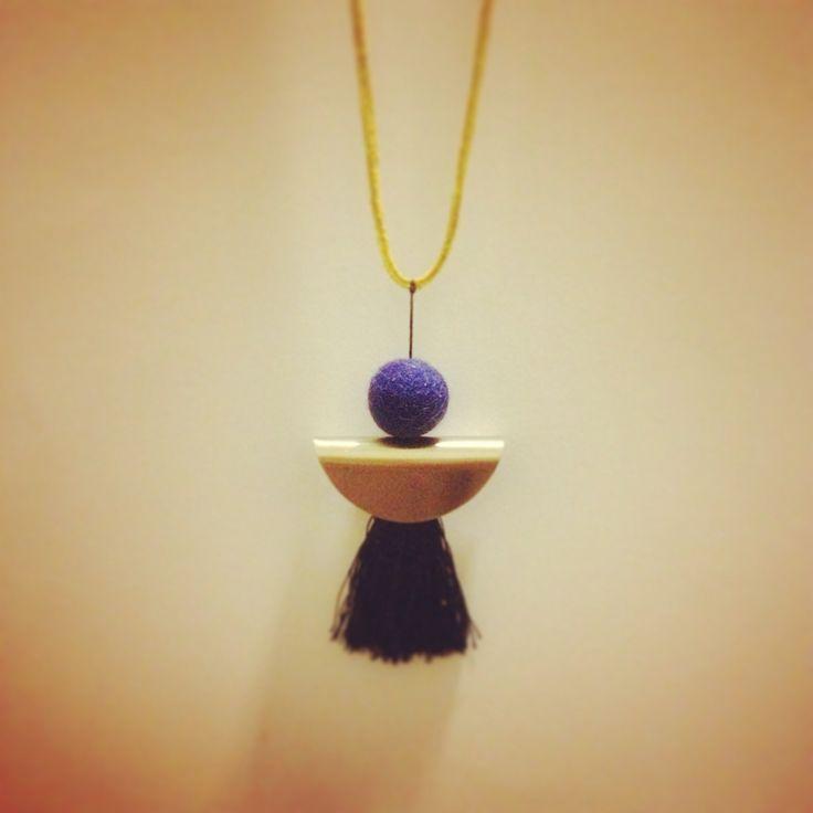 Blue felt ball necklace