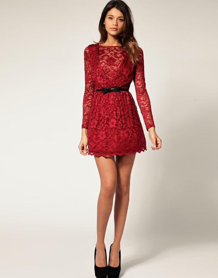 red lace asos dress huebsche kleider
