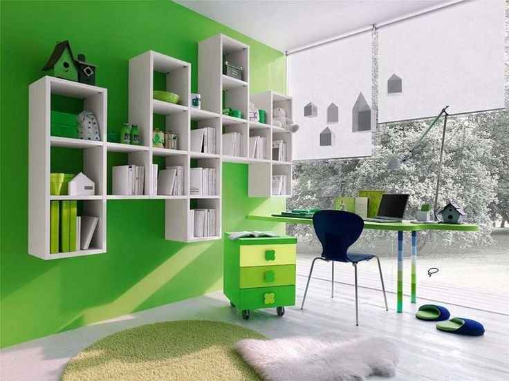 Cool Green Kids Room Design With Modern Study Desk And Bookshelf U2013 Green  Kids Bedroom Furniture U2013 Home And Interior Design Ideas Part 95