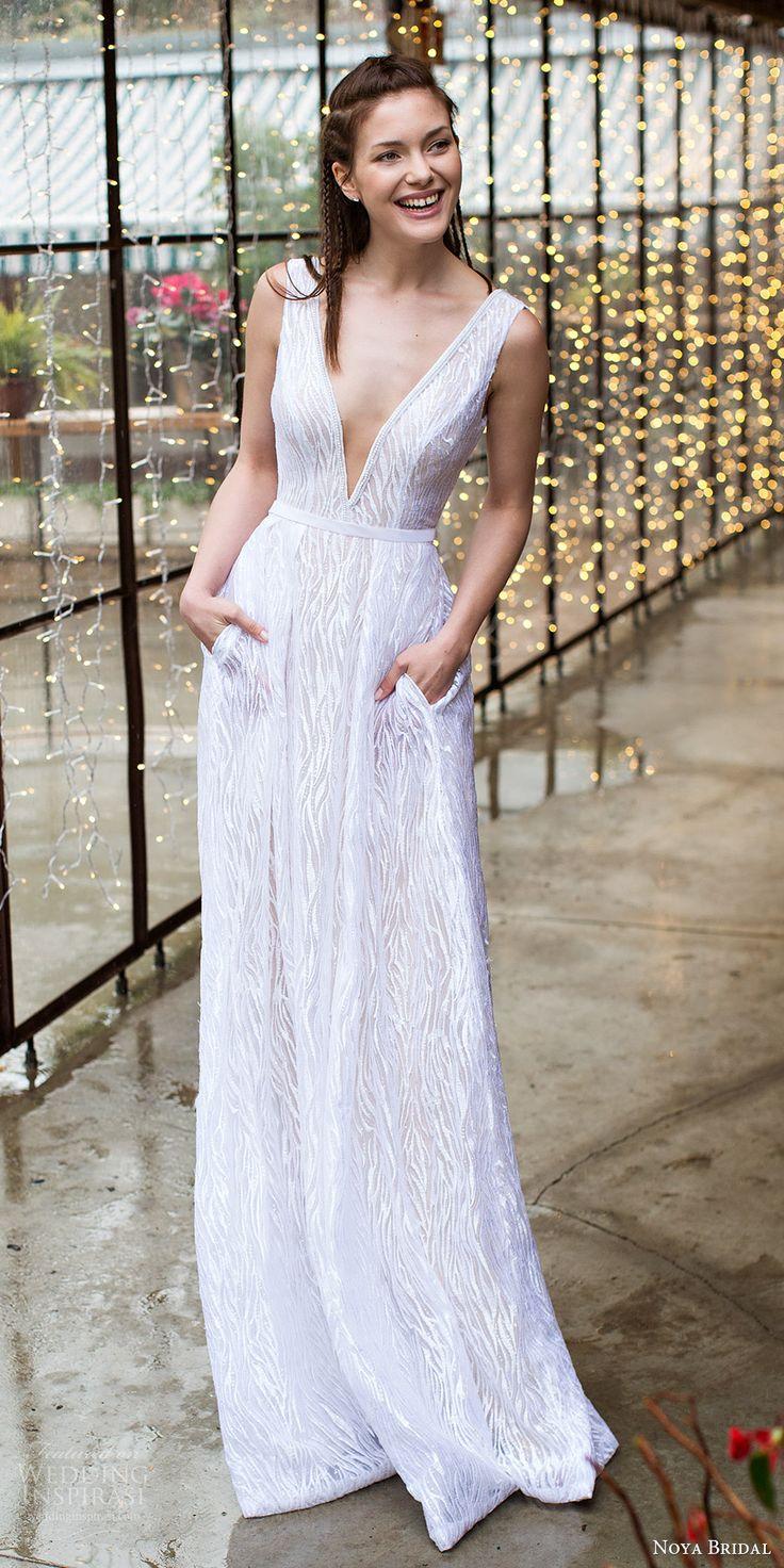 noya bridal 2016 sleeveless thick straps deep vneck aline wedding dress (1202) mv pockets chic