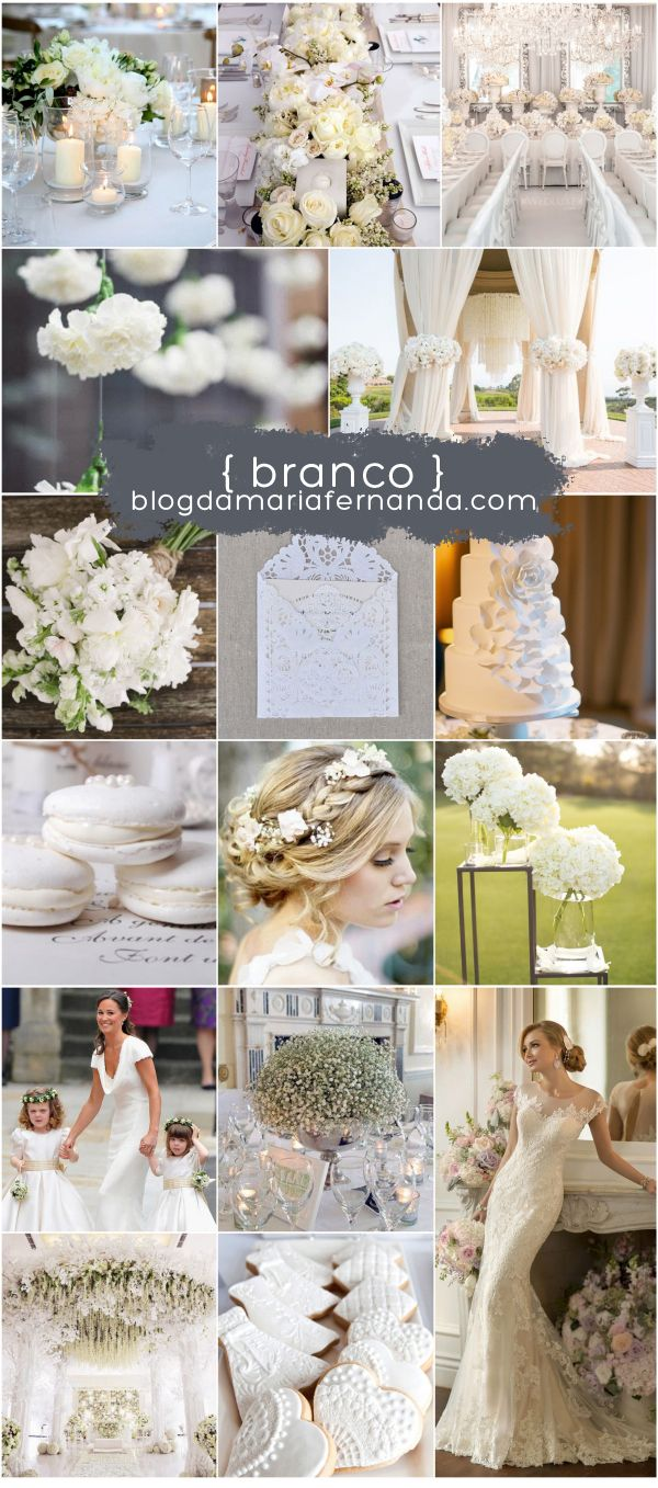 Decoração de Casamento : Paleta de Cores Branco | Wedding Decor Inspiration Board Color Palette White | http://blogdamariafernanda.com/decoracao-de-casamento-branco