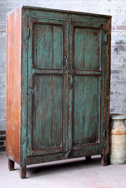 deposit reserved for shari vintage distressed kitchen cupboard turquoise green indian warm industrial shabby chic clothing storage cabinet