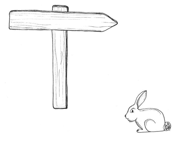 """Illustratie ontwerp """"konijn en pijl"""""""