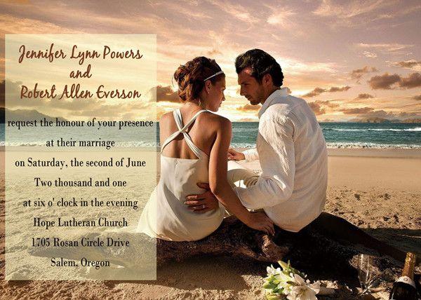 beach theme photo wedding invitations