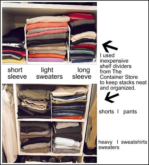 The easiest way to end up with a disorganized closet is by hanging up clothes without even thinking about it. To keep things sectioned off, hang blouses, tops, and skirts above built-in shelves.