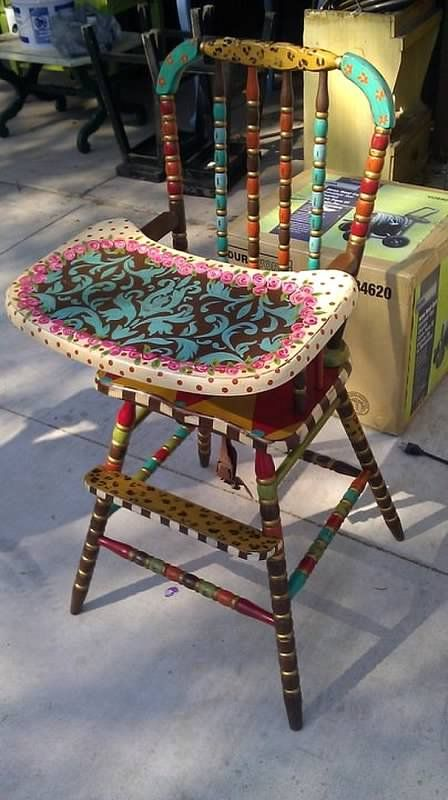 Lucky Peach Designs, I would love to find an old wooden high chair to paint up for my grandson