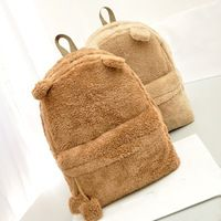 Cor sólida estilo coreano bonito orelha de gato de pelúcia mochila escolar com zíper grandes sacos de adolescentes do sexo feminino meninas laptop mochilas de viagem mulheres