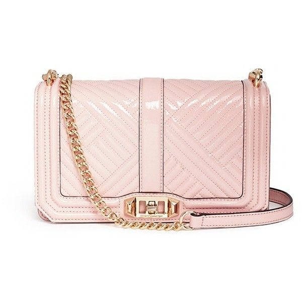 Rebecca Minkoff 'Love' chevron quilted patent leather crossbody bag ($340) ❤ liked on Polyvore featuring bags, handbags, shoulder bags, pink, quilted crossbody, quilted crossbody purse, patent leather handbags, pink purse and crossbody purse