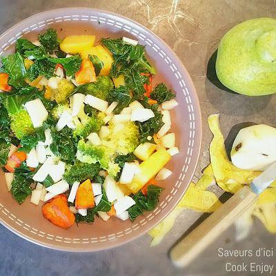 SAVEURS D'ICI - COOK ENJOY - Recettes Thermomix ou Pas: Salade Choux Kale - Brocolis - Poires - Thermomix ou pas