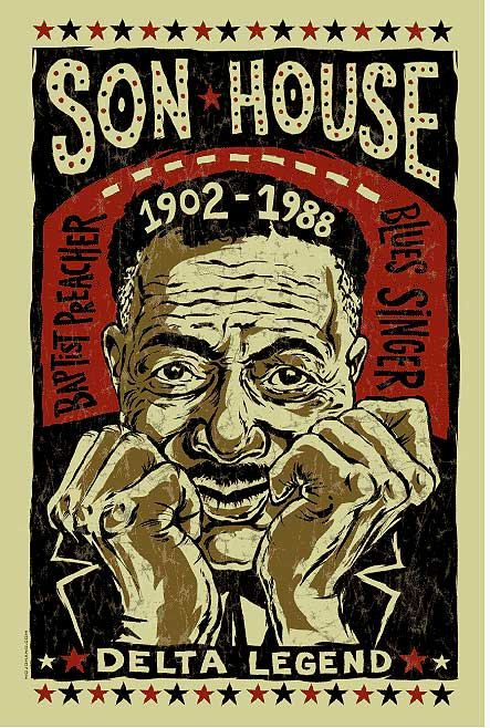 "Son House poster print by Grego, blues folk art, 12"" x 18"". #musicart http://www.pinterest.com/TheHitman14/music-poster-art-%2B/"