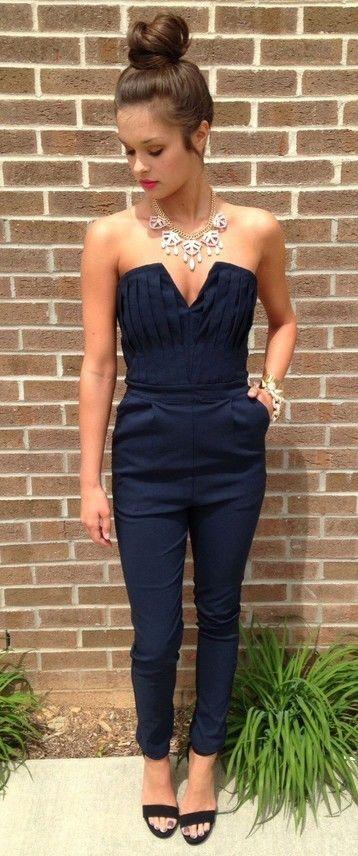 jumpsuit, navy blue jumpsuit