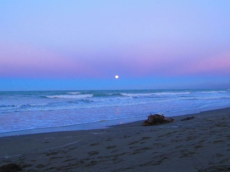 Moon over New Brighton Beach, Christchurch