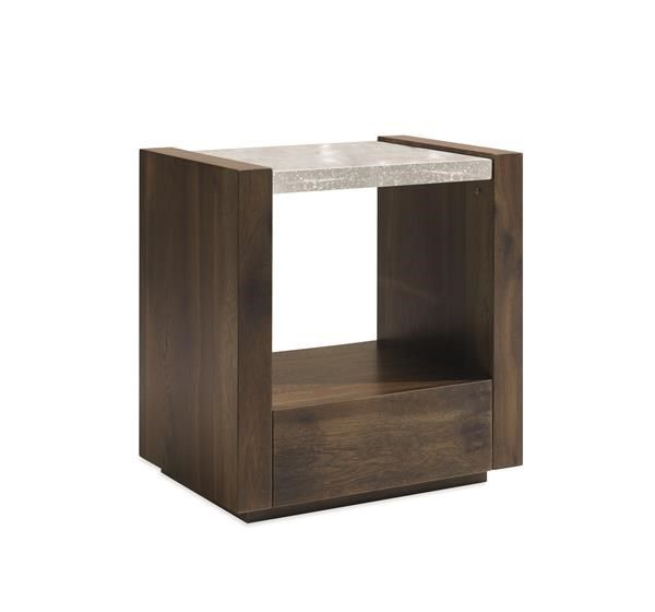 an artisan bubble glass top defines this classically tailored nightstand made from oak open interior storage and a hidden drawer for bedside necessities