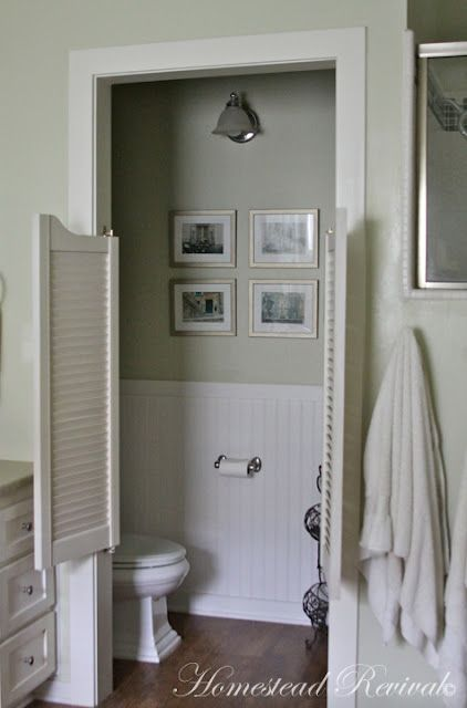 Homestead Revival: Farmhouse Tour Love the water closet doors! An excellent idea!