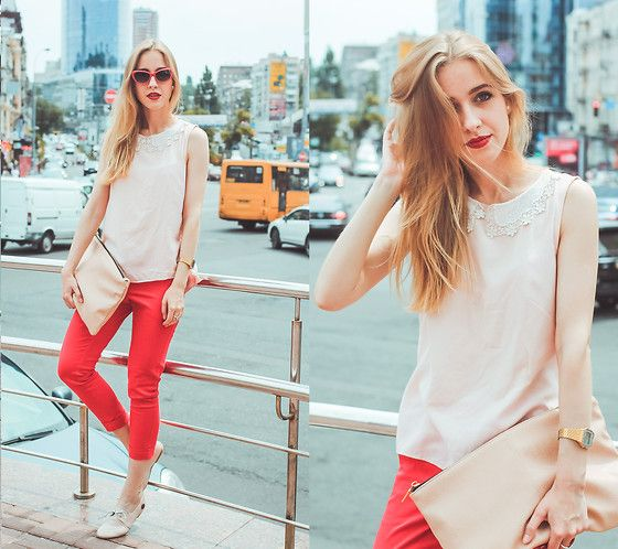 Mango Top, Oasis Trousers, Style Moi Earrings, Loly In The Sky Shoes, Pull & Bear Clutch Bag