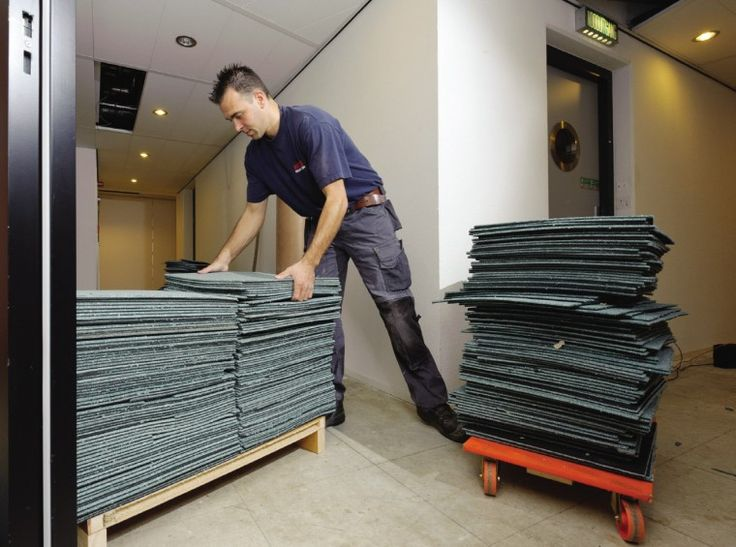 Benefits of modular - The carpet tiles are easily uplifted and stacked, Modularity, ReEntry