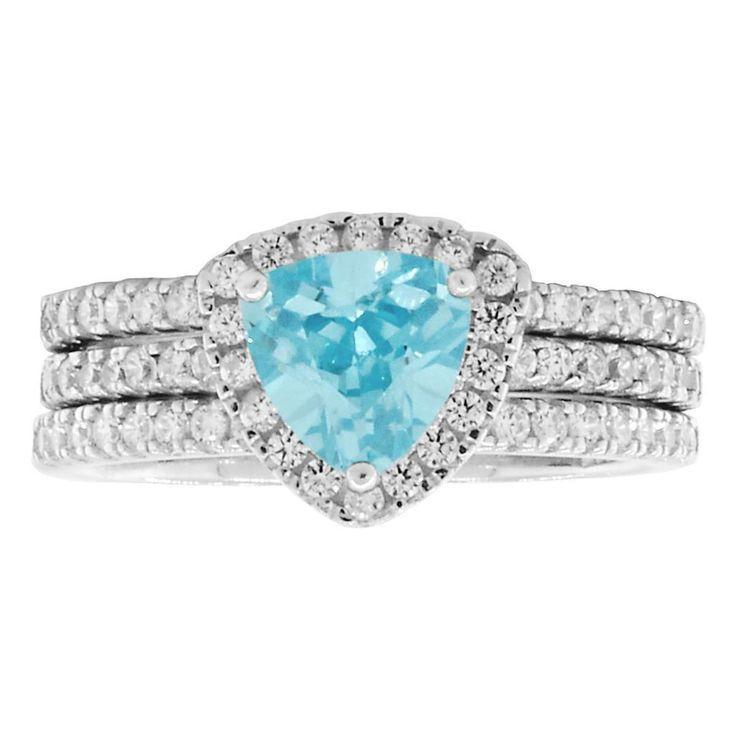 Acotas 3: 2.14ct Aquamarine Ice CZ Halo Semi-eternity 3 pc Wedding Set