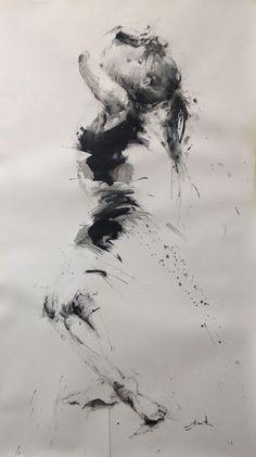 danse - Peinture, 145x85 cm ©2015 par ewah - Peinture contemporaine, Papier, Femmes, ink painting, peinture à l'encre, danse