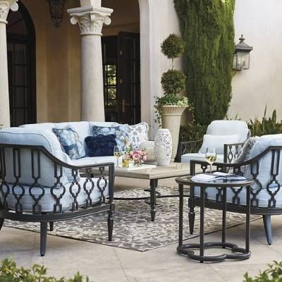 The quatrefoil motif recurring throughout our Avery Sofa Set puts a    contemporary twist on the age-old iron gates of Europe. Expertly crafted of    cast aluminum with hand-filed welds, powdercoated finish and    weather-defying solution-dyed acrylic cushions, this exclusive set is built    to stand the test of time. An eclectic design to mix with pieces from our    other collections. Set includes sofa, loveseat and lounge chair.                Premium-quality cast aluminum frames, with...