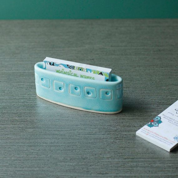 Mom, could you please make me one of these?   business card holder by potteryandtile on Etsy, $20.00
