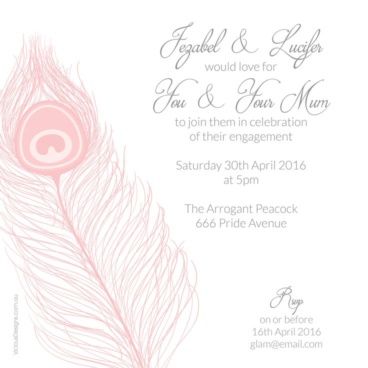 Pride Invitation from our 7 Deadly Sins collection. Features proud peacock feather & soft, curling fonts. Shown in Dusk & available in 10 flavours
