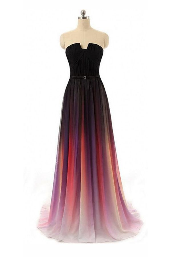 Black Navy Blue Ombre Chiffon Long Prom Dress