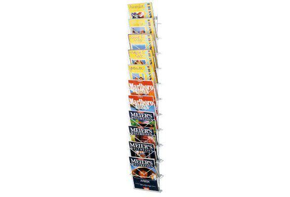 Der Wandprospekthalter MONEY ist mit 11 Ablagen ein Wandhaltermagazin für Prospekte und Zeitschriften. Die Ablagen aus kunststoffbeschichtetem Draht kann Dokumente im DIN A4-Format aufnehmen. https://www.messepartner.de/shop/wandprospekthalter/wandprospekthalter-money/