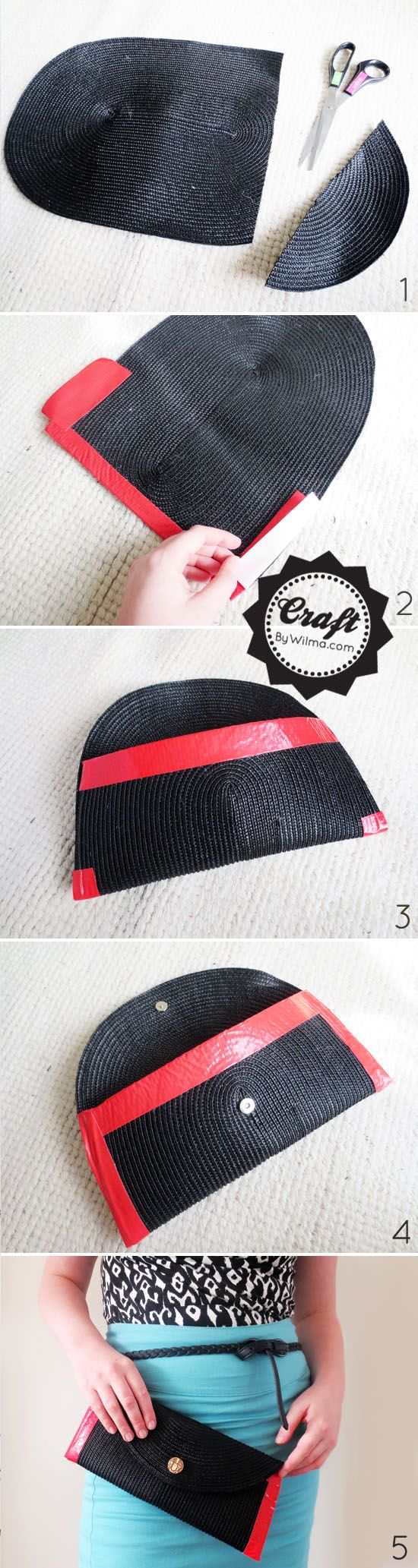 DIY project: duct tape and table-mat clutch | - oval table-mat - duct tape in a nice bright color - scissors - magnetic button - button with flat back (you can flatten the back with a file) - glue gun