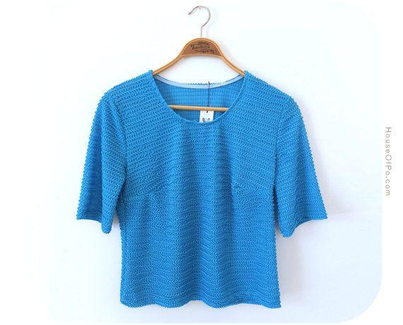 Vintage sky blue blouse sky blue sweater vintage by PoVintage, €12.00