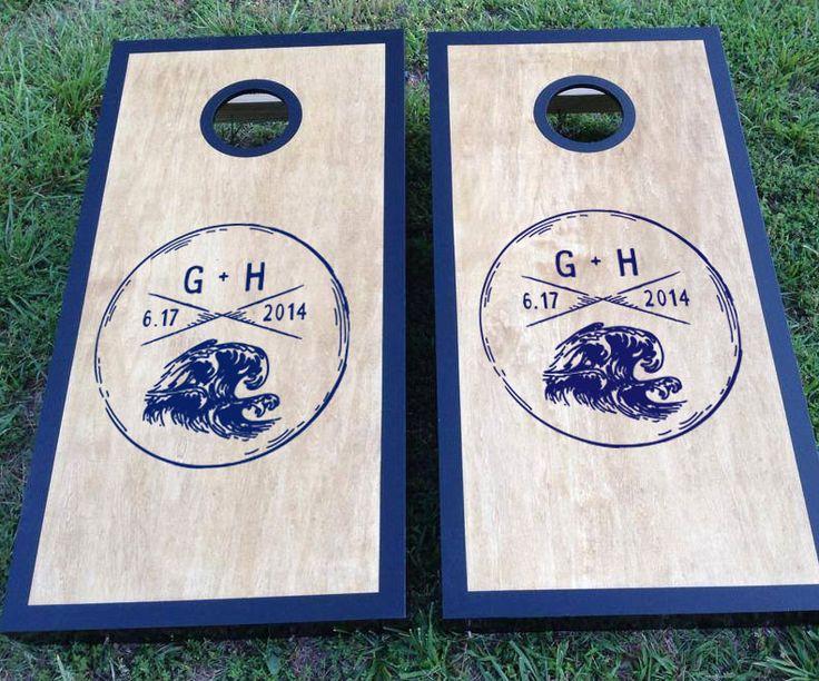 Nautical Wedding Cornhole Board Decal Set with Custom Initials and Wedding Date