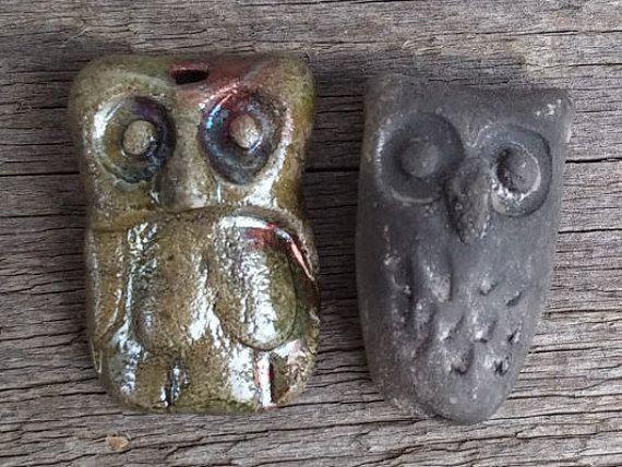 2 Ceramic Owl Pendants 32mm / 1 2/8   owl by BlueBirdyDesign