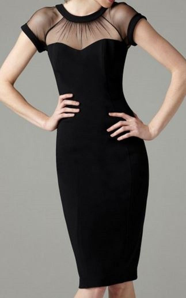 So Gorgeous! Love this Dress! Sheer Little Black Dress Patchwork Design Grenadine Pleated V-Back Neck Short Sleeve Party Dress #Elegant #Fashion #LBD #Little #Black #Dress #Sexy #BodyCon #Fashion