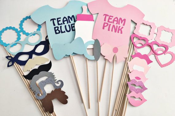 Blue or pink photo props gender reveal party by PrintYourEvent