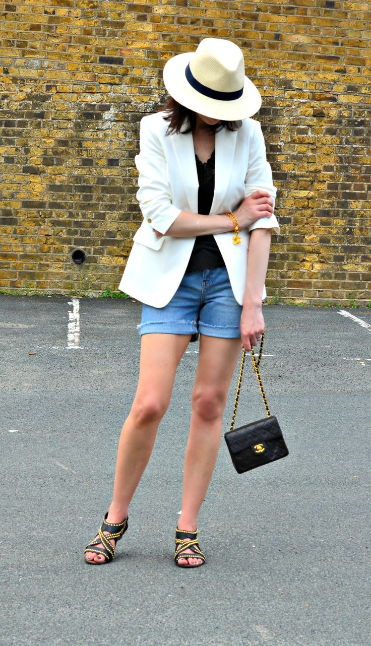 Marks and Spencer Style Challenge by The O40Co - White Blazer | White Panama Hat | Denim shorts | Vintage Chanel - How to Style a White Blazer Over 40