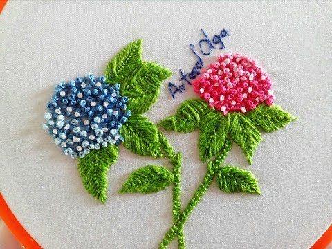 Hydrangea Flower Embroidery   Hortensias Bordadas a Mano   Hand Embroidery Tutorial by Artesd'Olga - YouTube