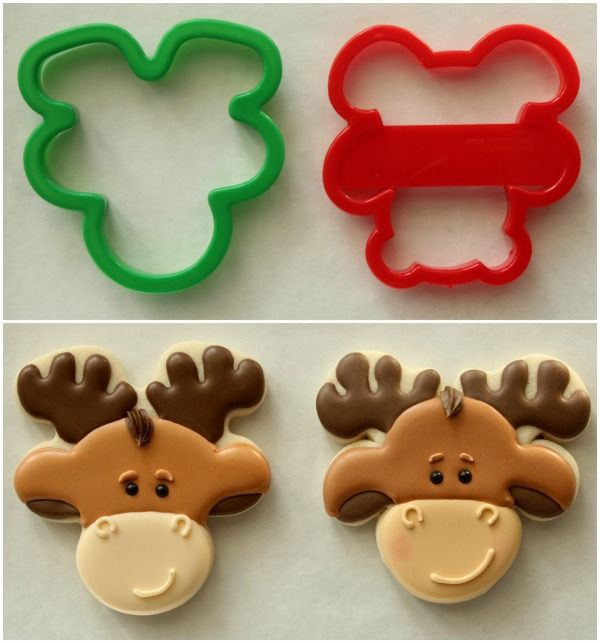 Moose Cookies Using Bear And A Gingerbread Man Cookie Cutter Turned Upside Down & 123 best Sugar Cookie Decorating images on Pinterest | Cookie ...